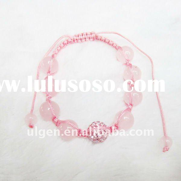 2011 the newest fashion knotted cord crystal resin ball beads bracelets