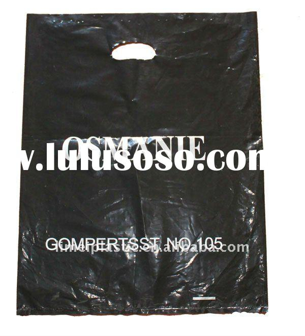 Black Bag With Sliver Printed Die Cut Plastic Bag For Clothes