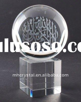 Crystal engraved 3d laser Ball with Stand MH-8168