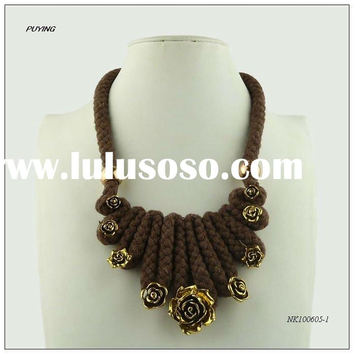Fashion Cotton Zinc Alloy Costume Necklace, Fine Accessory