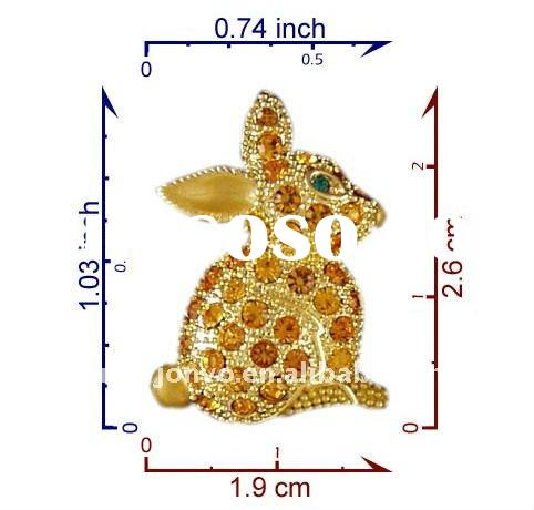 P3994-TOP crystal rabbits brooch pin Easter Day gift