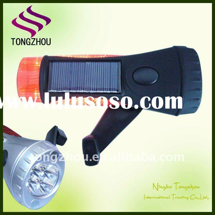 Portable Super Bright 4 LED Dynamo Solar Flashlight