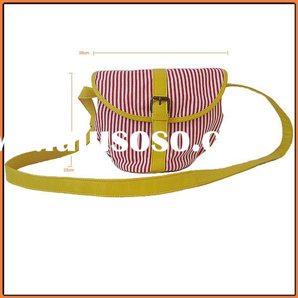 Yiwu China 2011 vogue girls striped colorful new designer Canvas bag