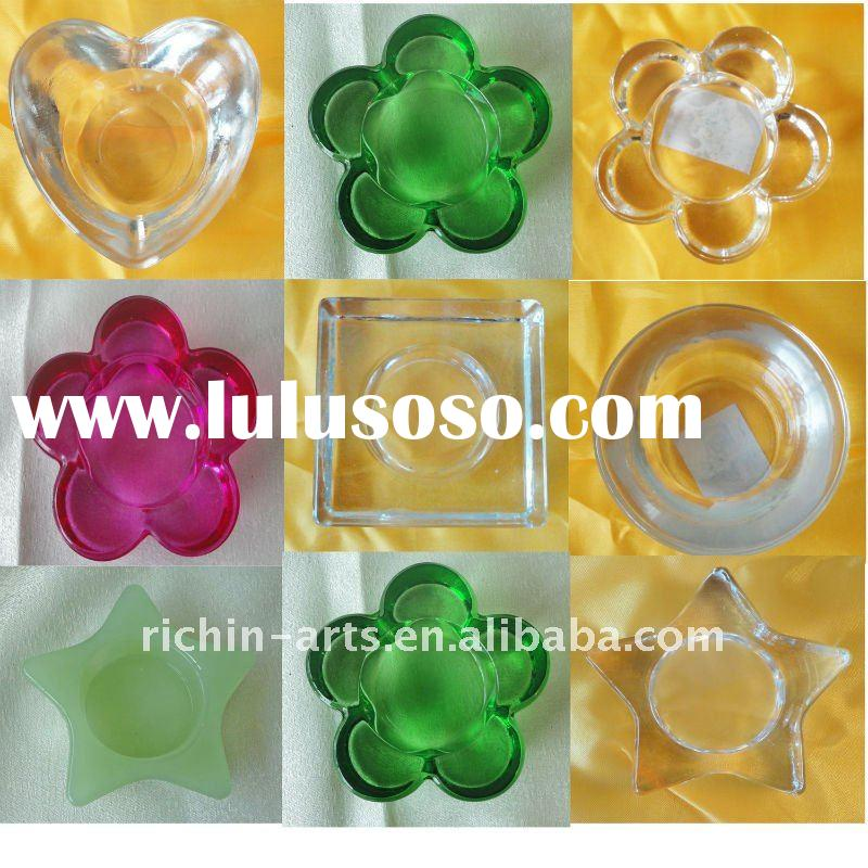 glass candle holder for tea light with various design and color