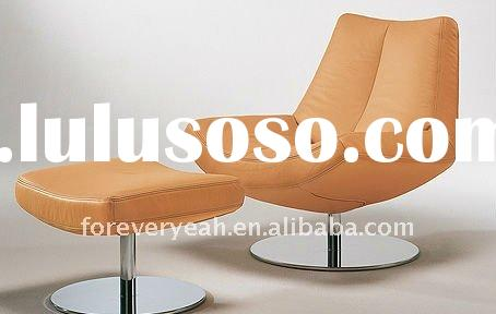 indoor Chrome metal base and leather chaise lounge chairs