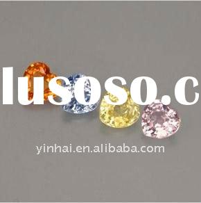 multicolor heart cut sapphire gemstone, corundum gemstone