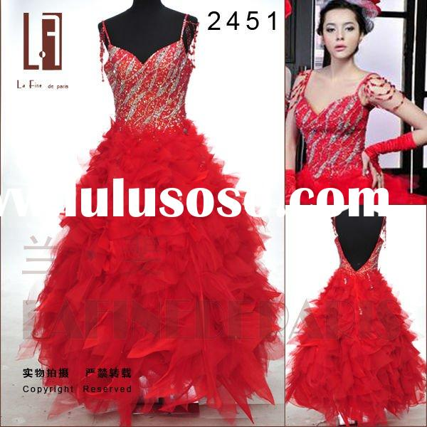 2011 Lafine new design wedding dress red ballgown floor-length organza tulle spaghetti strap with be