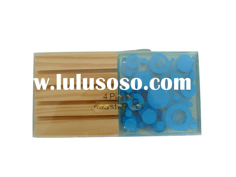 4pcs square glass coaster with wooden stand