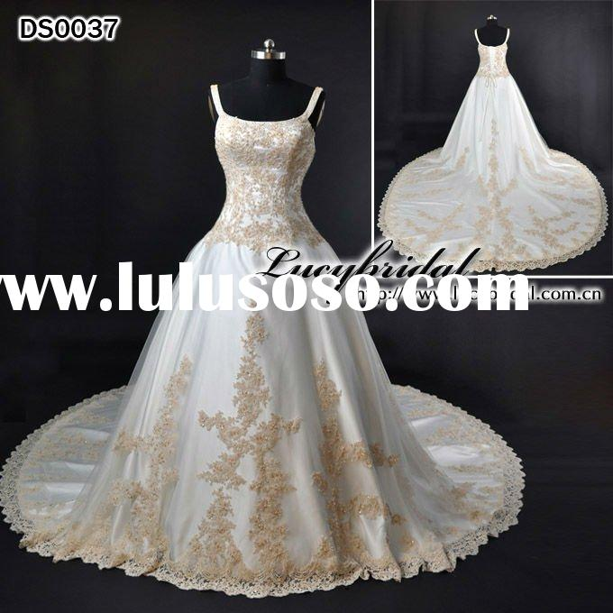 Best Quality Royalty Satin Lace Beaded Wedding Dress DS0037