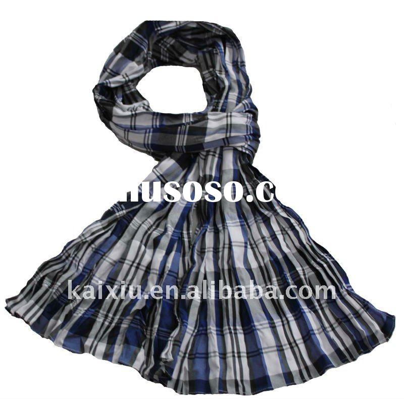 Elastic Crepe Polyester Checked Stripe Scarf