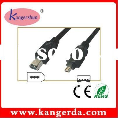 HIGH SPEED 4P MALE TO 6P MALE OD 6MM BLACK STANDARD IEEE 1394 DV CABLE