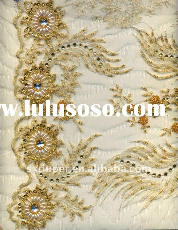 Fancy tulle fabric with handwork embroidery designs