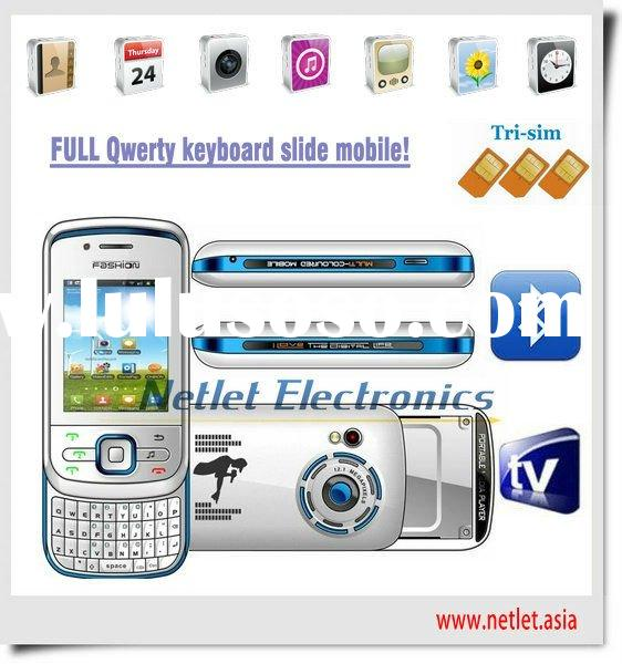 High quality Qwerty tri sim slide mobile phone