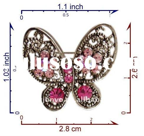 P3969-PK crystal butterfly brooch pins jewelry