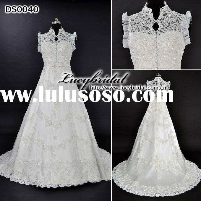 Real Swarovski Crystal Off-Shoulder Satin Lace Beaded Wedding Dress DS0040