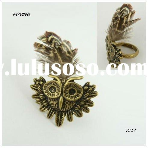 Charm Owl Motif Feather Gold Alloy Ring, Fashion Order Jewelry