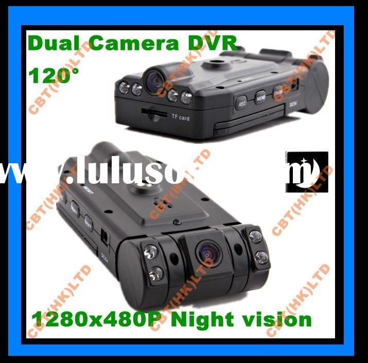 Dual camera Car DVR,Car DVR camera New Dual camera Survailiance the outside and the inside together