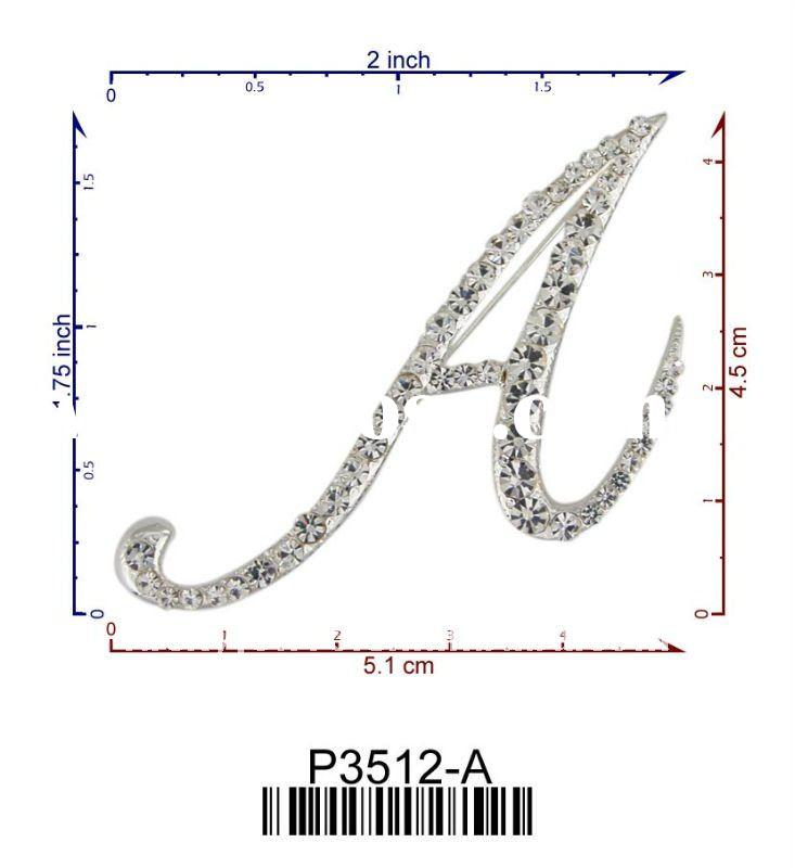 P3512-A initial A to Z letter saying brooch jewelry