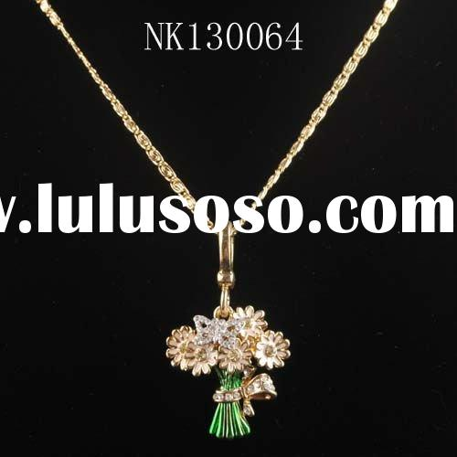 Promotion gift 18k gold plated enamel zinc alloy flower necklace for Christmas nk130064