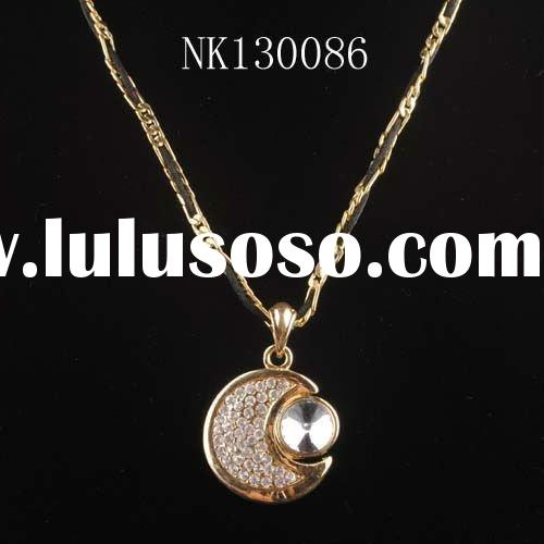 Promotion gift 18k gold plated metal moon and sun necklace nk130086