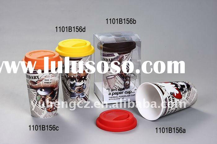 double wall ceramic mug with silicone lid
