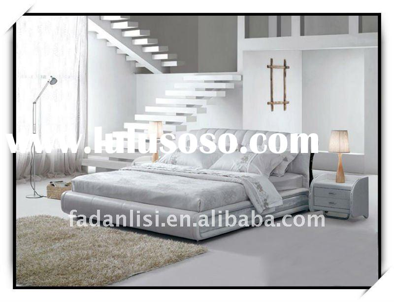 Gray Leather Bed B106