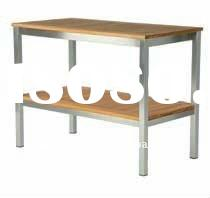 Stainless steel outdoor teak serving table