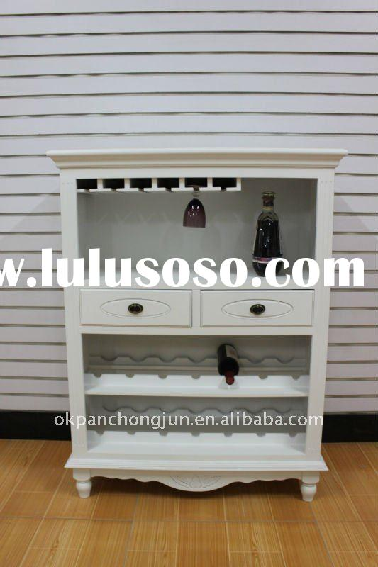 Wine cabinet/ wine display cabinet/ wooden antique white furniture