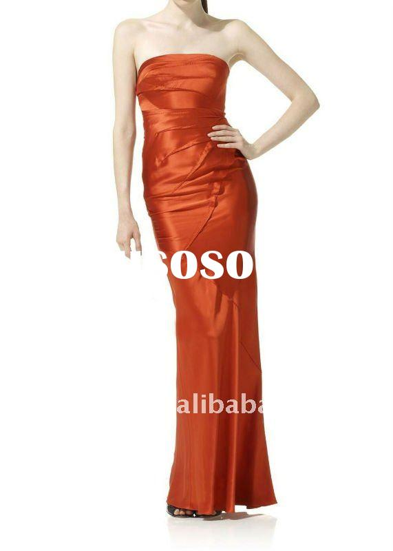 2011 new popular strapless taffeta evening dress