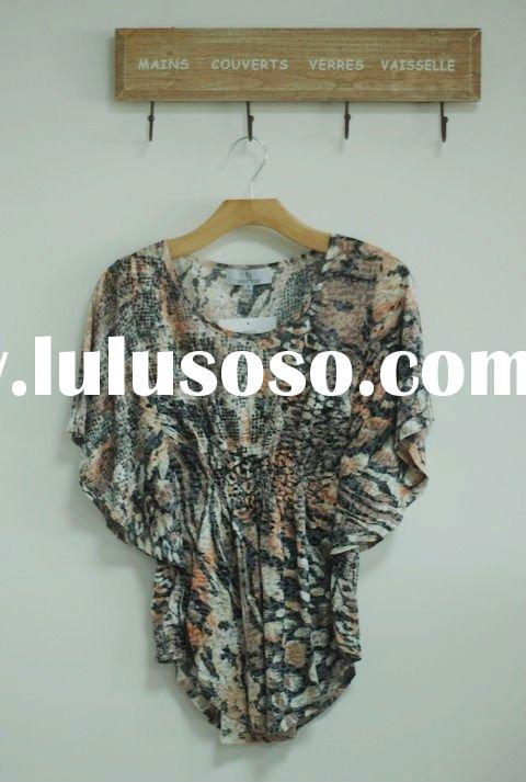 Ladies burn out blouse with print