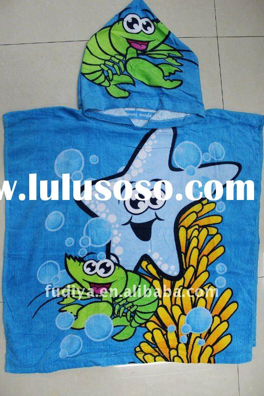 100%cotton velour reactive printed poncho towel