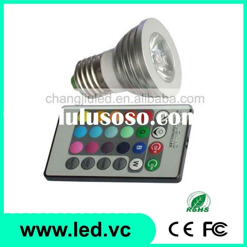 1x3W AC100V-245V Voltage High Power E27 MR16 GU10 16 Color RGB + Remote Controller LED RGB Spotlight