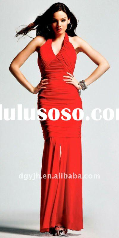 2011 Hot selling halter neck red evening dress