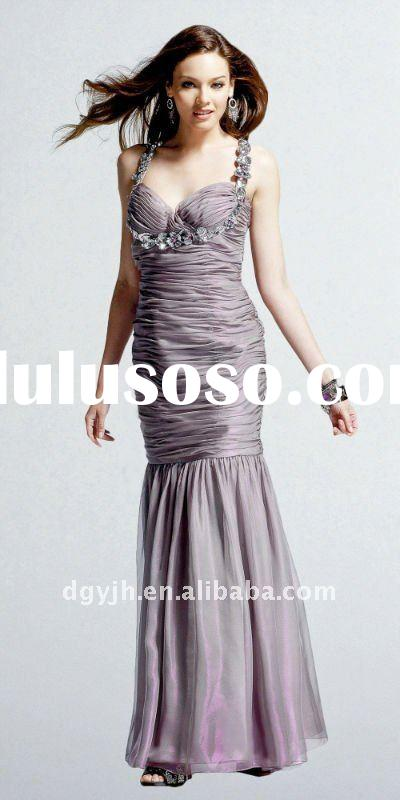 2011 Hot selling lavender floor length evening dress for veiled