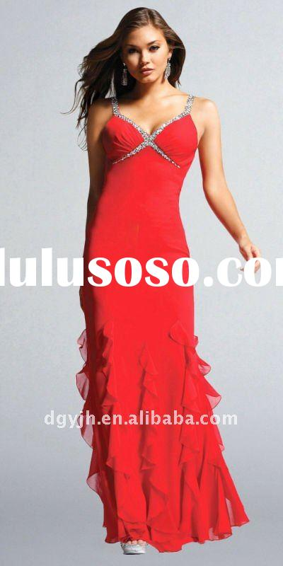 2011 formal beaded red long evening dress