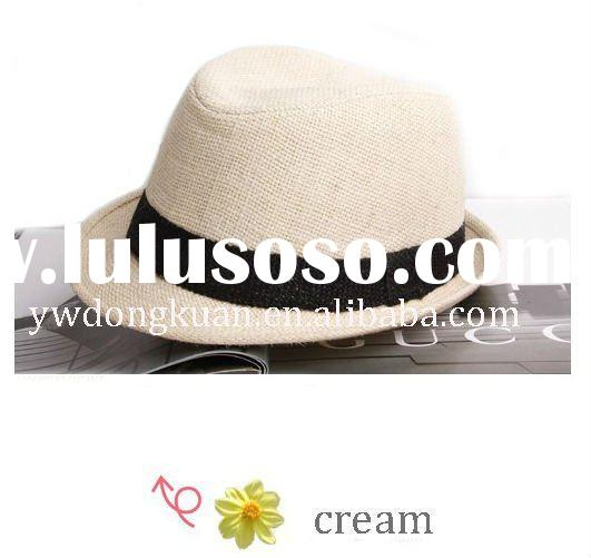 Cream-colored fashion fedora hat