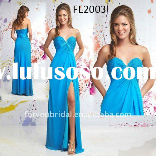 FE2003 Blue New Style Strapless Chiffon Evening Dress