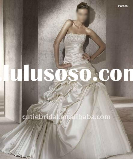 New Strapless Ruffle Embroidered Tulle Satin Wedding Dress 111148