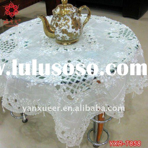 beaded table cloth,cutwork,16 pcs set,white color