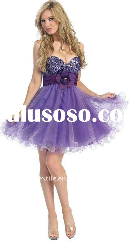 Short tight dresses wedding young sleeveless purple pink for sale