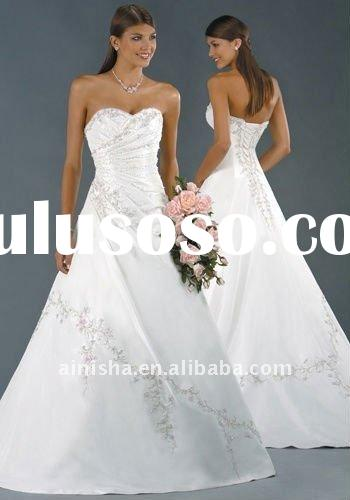 2011 hot elegant simple A-line strapless floor length embroidery taffeta custom made wedding dress