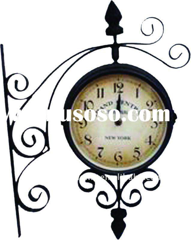 Double Clock Faces Glass Wall Clock
