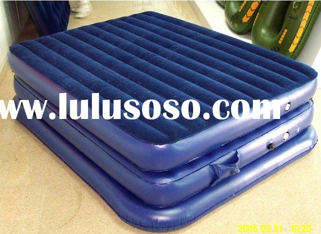 High Raise PVC Inflatable I Beam Flocked Air Bed