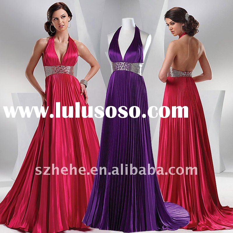 Real sample pleated elastic satin beaded waist halter red / purple evening dress
