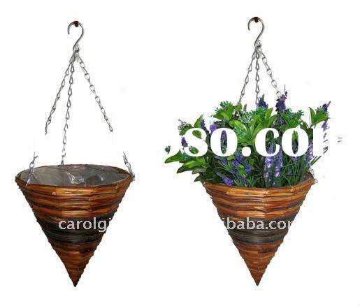 Fern and Rattan Cone hanging planter - Rattan hanging basket - Fern and Rattan hanging flower pot
