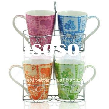 Ceramic mugs set with metal stand