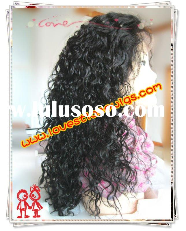 Curly #1B 18 inch Indian remy hair  full lace wigs