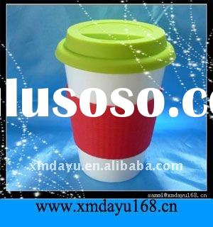 Hot! Double Walled Ceramic Travel Mug with Silicon Cover Lid  and Silicone Ring