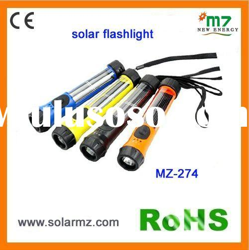 Hot sales!!! 2011 new design indoor and outdoor used rechargeable led solar flashlight CE,ROSH