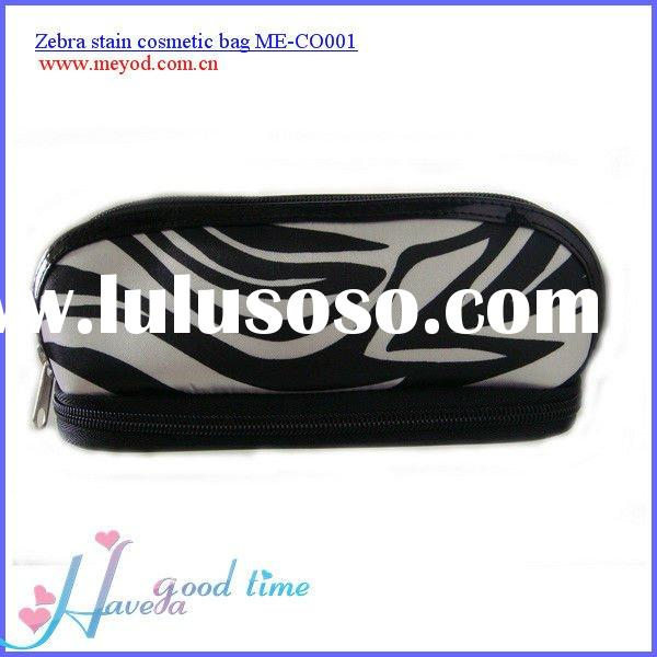 Low price zebra pattern stain cosmetic bag